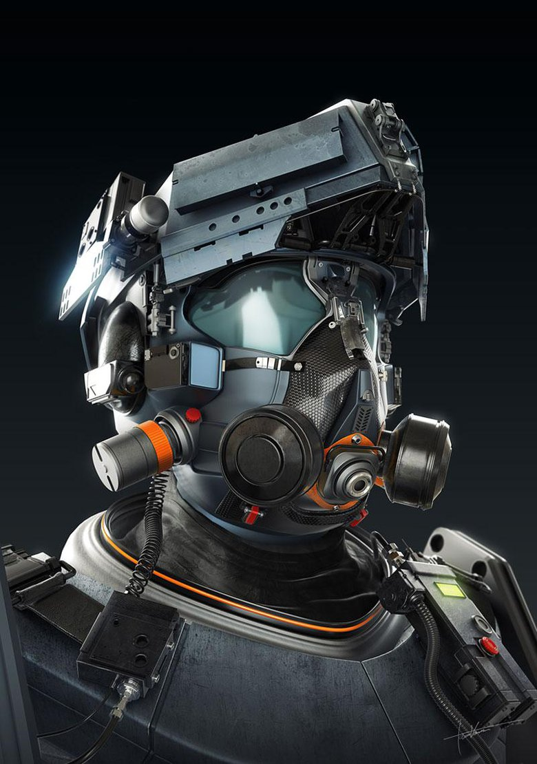 Crowd Control Unit: A helmet design that turned into a full bust, modeled with 3ds Max and Mudbox