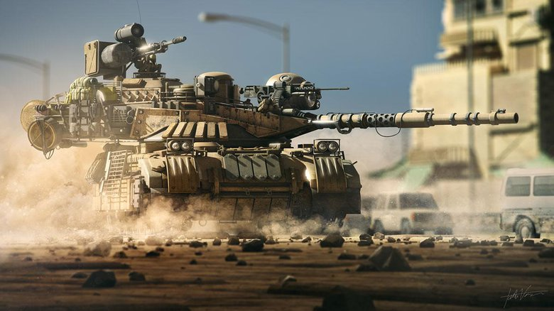 Middle East Express: A tank design created with 3ds Max, Fusion, and Photoshop