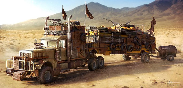 Wasteland Truck: One of a series of post-apocalyptic vehicle designs, made with 3ds Max, V-Ray, and Photoshop