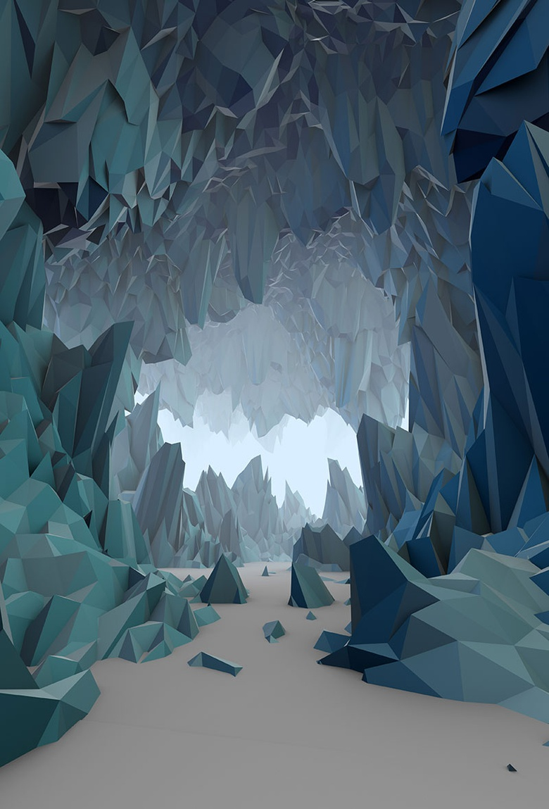 <em>Ice Cavern</em>  This was originally going to be a cavern with a stream of lava, and ended up being completely the opposite