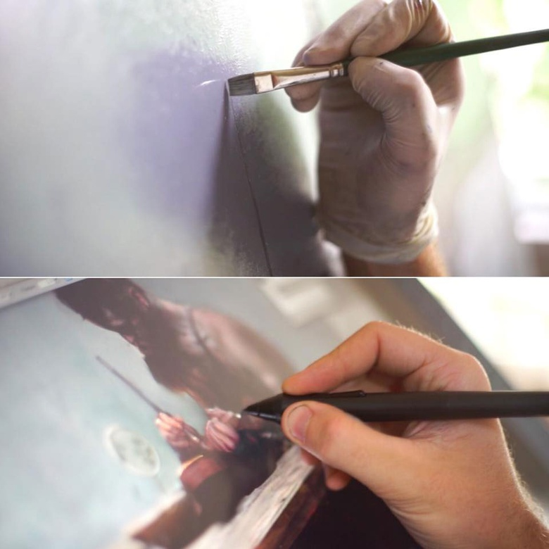 My artworks are largely designed digitally and then painted, or in the case of charcoal, drawn