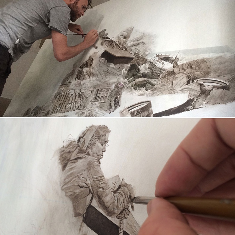 A light layer of oil paint is applied over the drawing to get a sense of the colour and tonal quality of the final painting