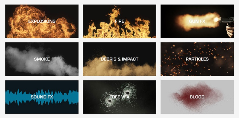 ActionVFX elements include explosions, fire, gun FX, smoke, blood, debris, and more