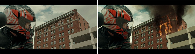 Before and After comparison of a shot using the ActionVFX Structure Fire collection to burn down a building