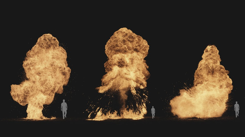 Real explosion samples from the ActionVFX Explosions collection. Human showed for scale