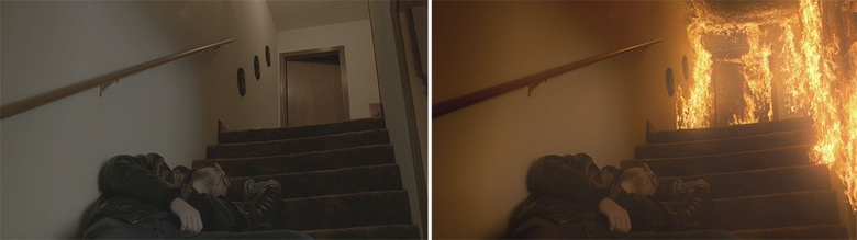 Before and after using the ActionVFX Structure Fire collection to burn down a house