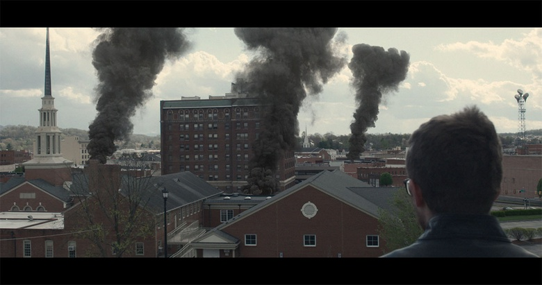 VFX shot using the ActionVFX Smoke Plumes collection to show rising smoke after an attack