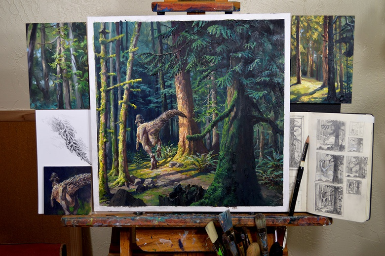 A finished prehistoric forest scene surrounded by the studies I did as warm-ups during its creation