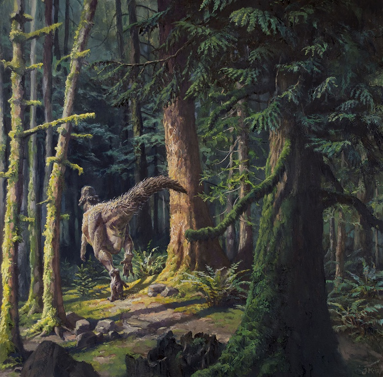 The series of warmups I completed helped me to bring life into this painting of a pachycephalosaurus running through a Cretaceous cedar grove.