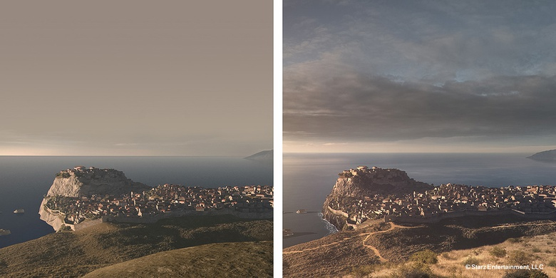 a. Vue render - b. Matte painting day version