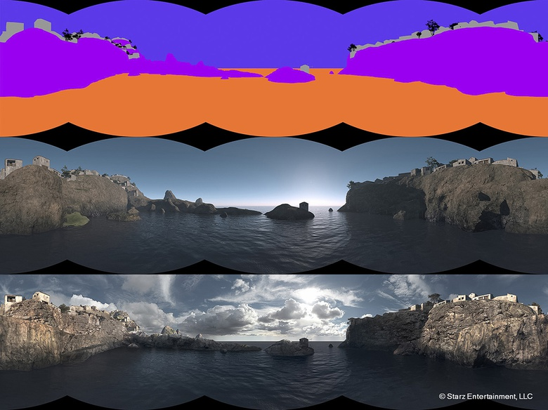 This image shows the 360-degree Vue render converted as a latlong image and below is the final matte painting ready to be projected onto concentric spheres in NUKE