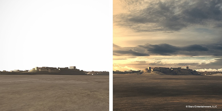 This matte-painting was created to show the city of Rome viewed from the field of Mars where Crassus' army is prepared to fight the rebellion of Roman slaves under the leadership of Spartacus. On the left, the Vue render and on the right, the final matte painting