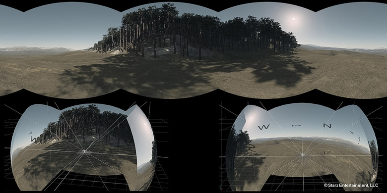 This image shows a 4 pack cameras render from Vue, converted into a latlong and projected onto a sphere in NUKE