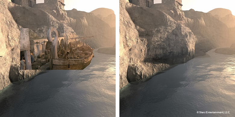 This shot shows the integration of a specific matte-painting of the Sinuessa Harbor cliff face. The initial render was done in Vue and then painted to match the set