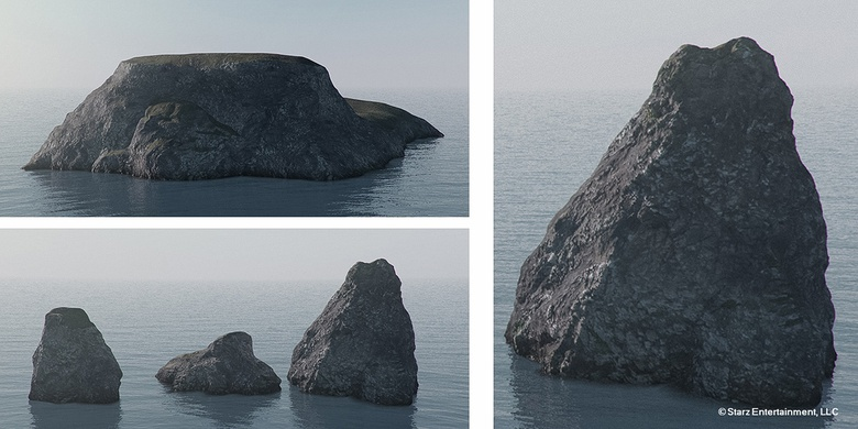 Pre-production research in Vue to get convincing rock shaders for the Sinuessa harbour and coastal environment