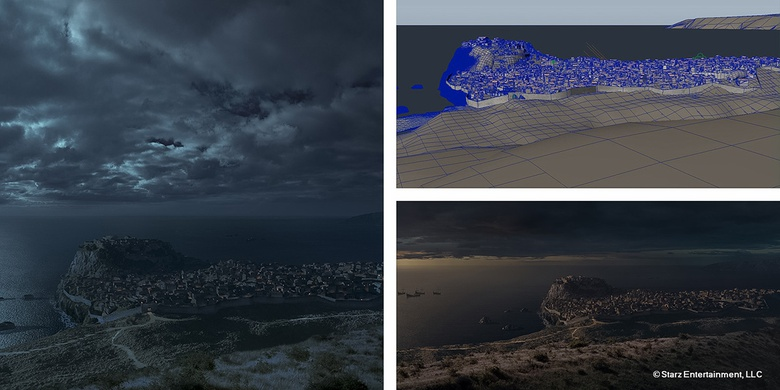 c. Matte painting night version  d. 3D geometry, ready to export into Vue  e. Matte painting dawn version with extension on the left side