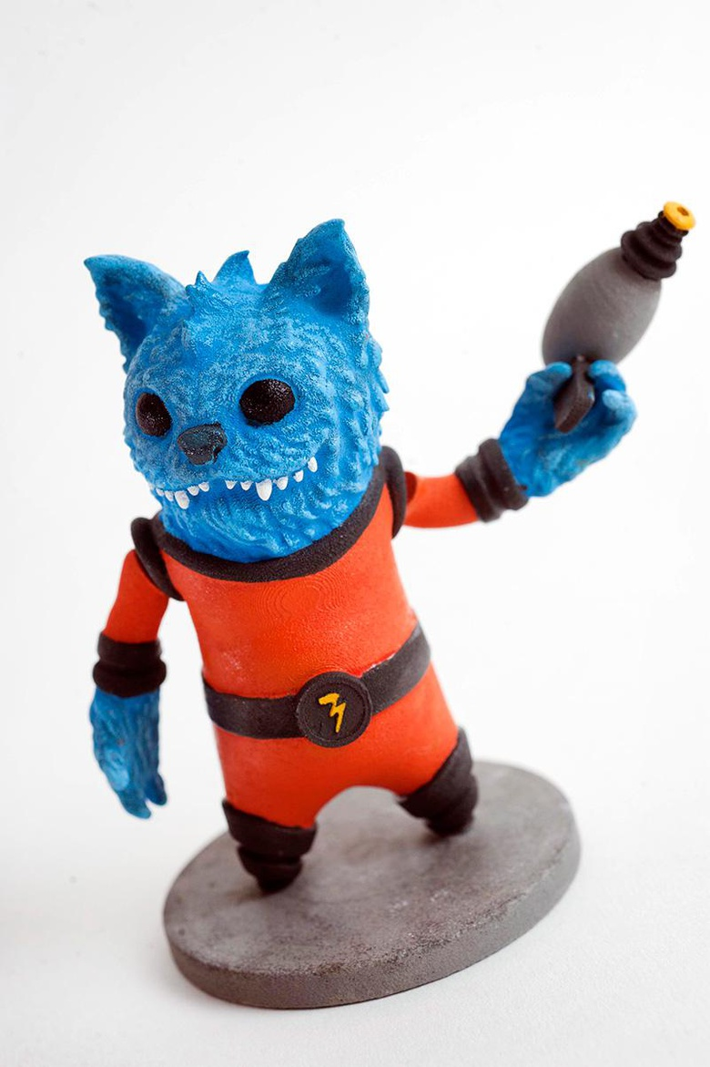 Ashley Sparling's <em>General Spike</em> giving a 3D-printed salute