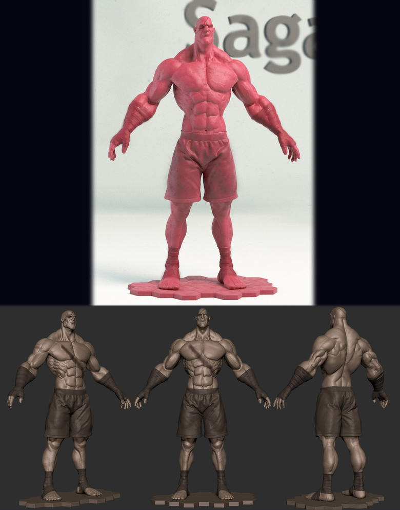 My Version of Sagat (inspired from Tim Appleby's work) sculpting assignment for Game Artist Academy