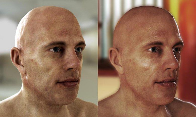 Testing a skin shader under different lighting setups