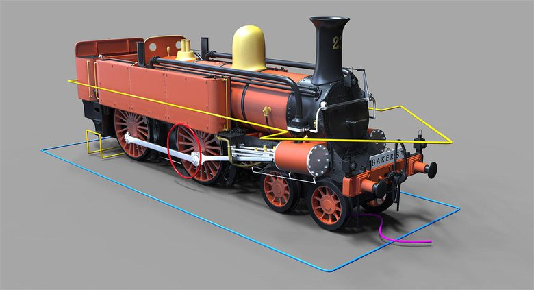 A train rig created for 3D Artist magazine