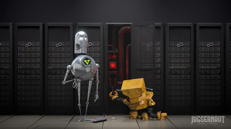 A frame of our company clip, where I modeled the yellow robot