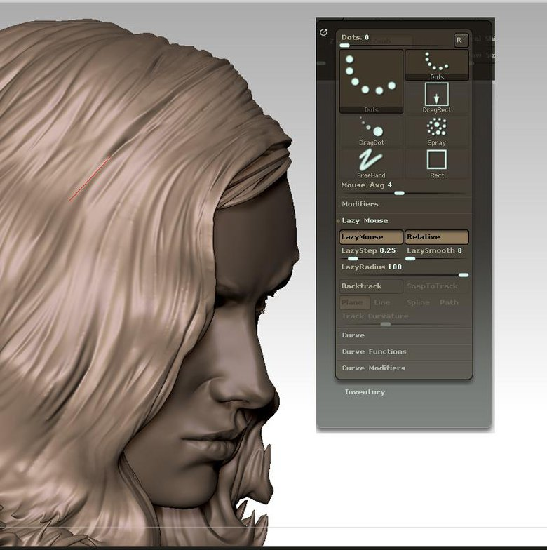 Using lazy mouse to sculpt long flowing hair