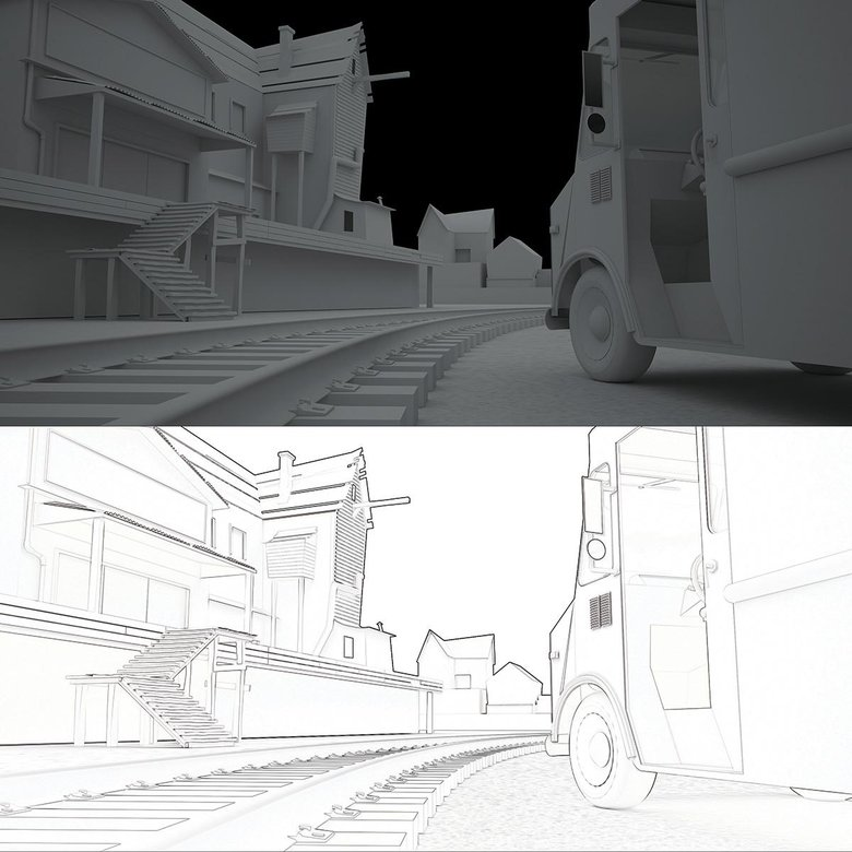 Here we reduce everything down to lines and get rid of the 3D render