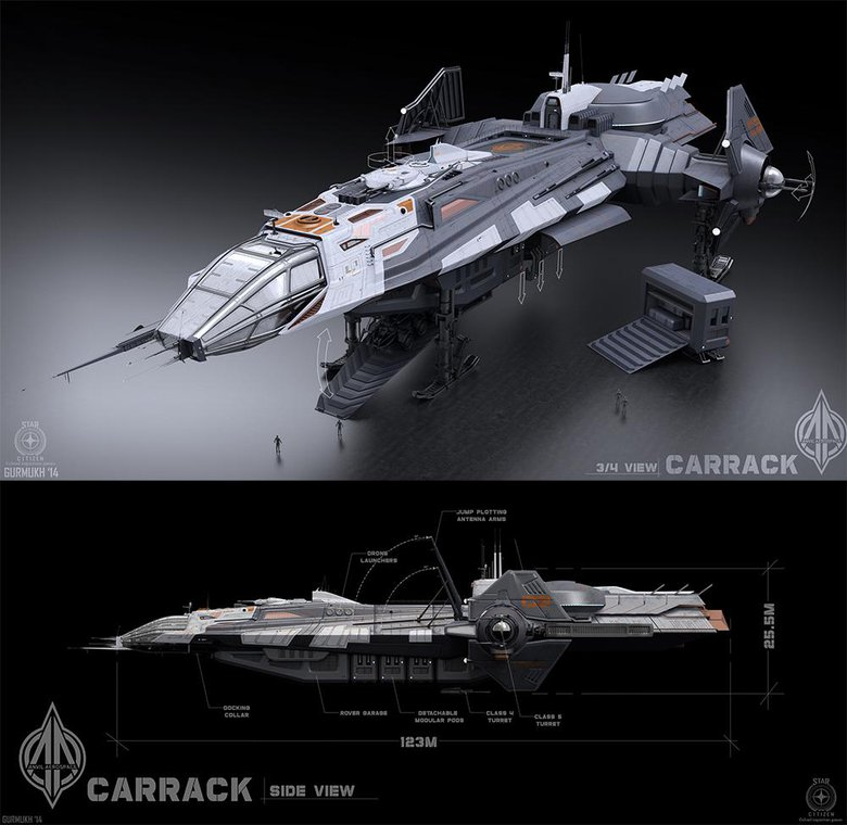 Carrack, Three-quarter and front views of the Carrack ship for Star Citizen