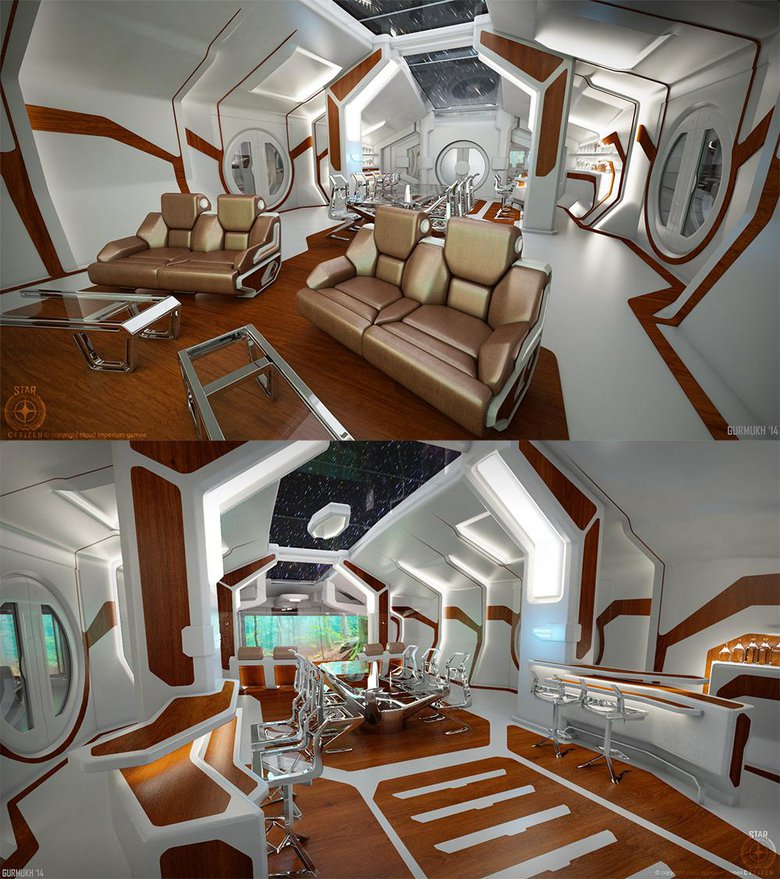 Interior view of the Constellation Phoenix ship for Star Citizen
