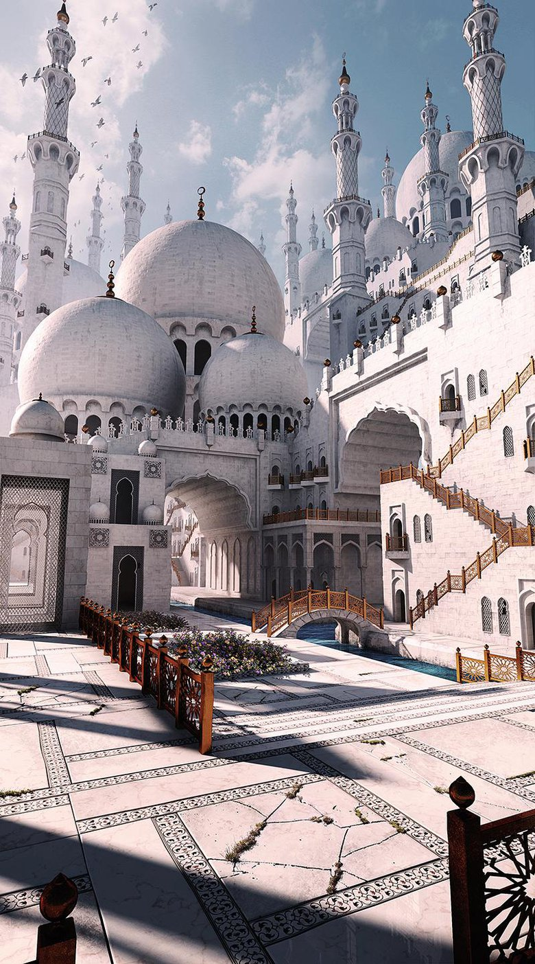 Fantasy Mosque, Architecture inspired by the Sheikh Zayed Mosque in Abu Dhabi