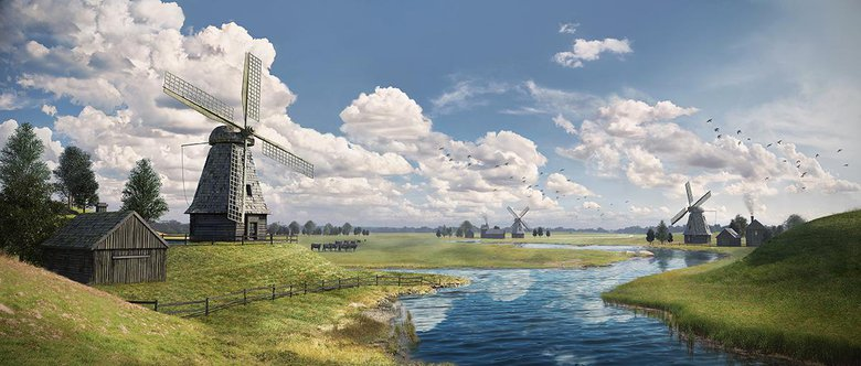 Windmills, This Image was created as an assignment for David Luong's 'Photoreal Matte Painting' course