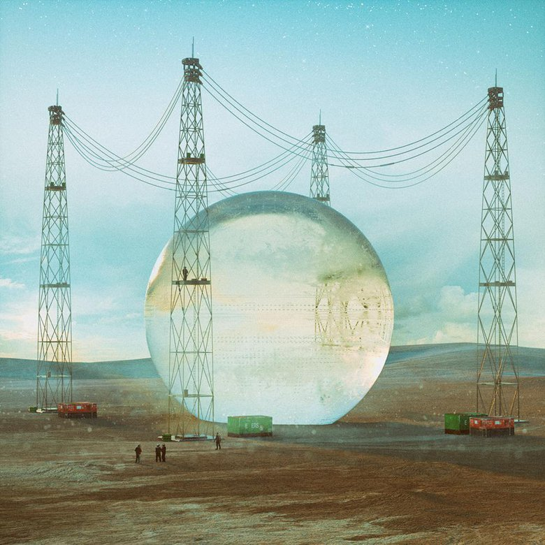 GAUSSIAN HARVEST, In this image, Mike imagined a weird sci-fi future in which people harvest giant glass balls