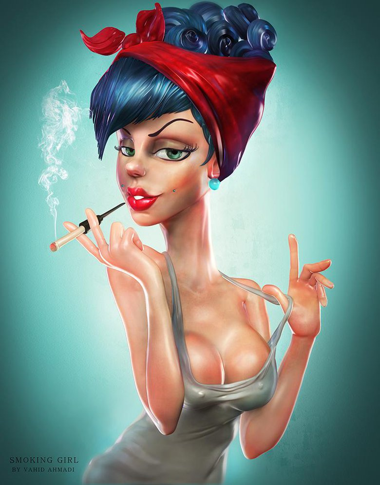 Smoking girl, concept by Zork