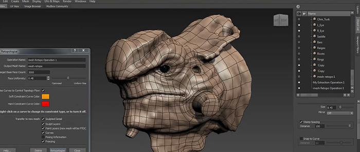 Mudbox 2014 New Features: Advanced Retopology · 3dtotal