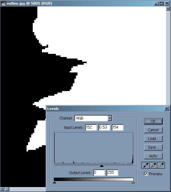 Picture 6: Adjust the Levels with the settings in the window. Note how the AntiAliasing disappears
