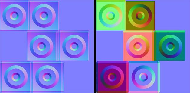 Tangent space (left) and object space (right) normal maps of the same cube