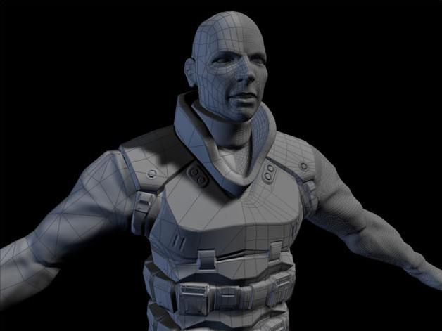 Low poly character (left) and high poly character models