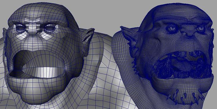 Fig. 14 - Low res cage for facial meshes
