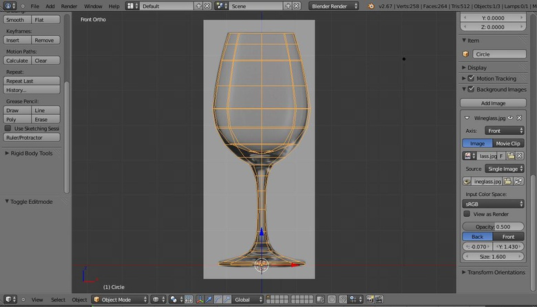 Wine glass model - the best way to work is to use a front reference photo