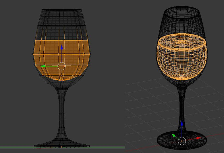 Wireframe of the glass containing wine