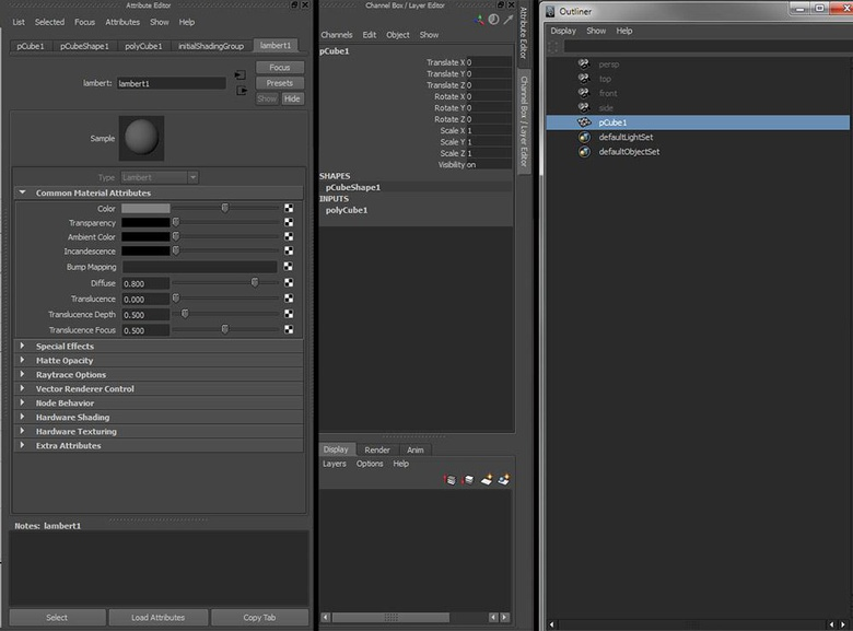Attribute Editor, Channel Box and the Outliner