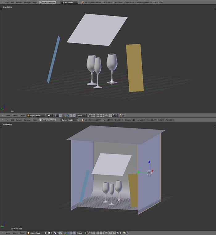 Light and setup your scene in Blender
