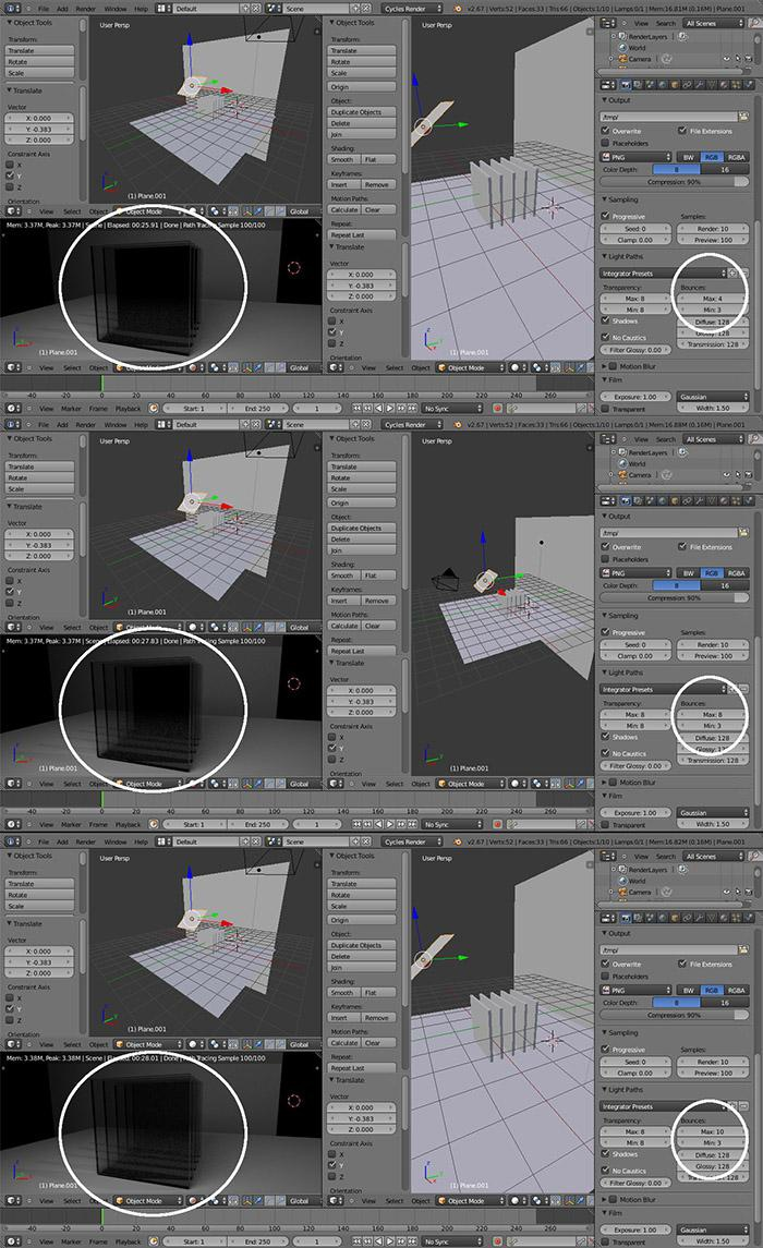 Different bounces in the render settings
