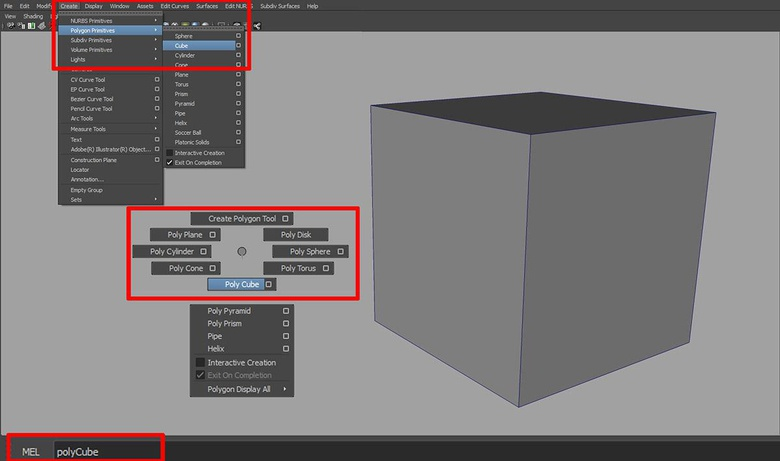 Creating a polyCube using the main menu, a marking menu and the command line