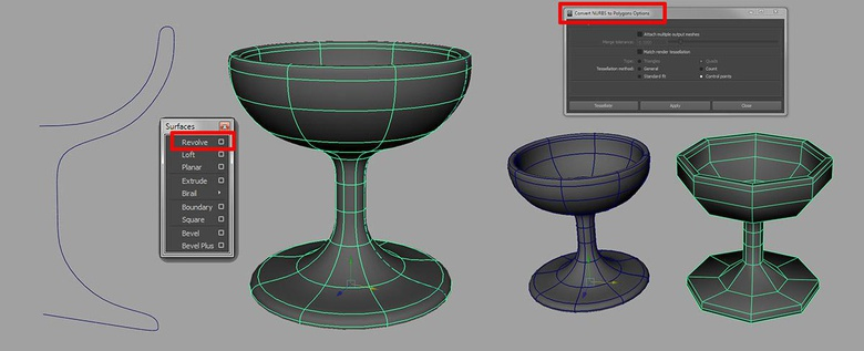 Taking a curve, using the Revolve tool to make a glass and then converting the NURBs surface into a polygon
