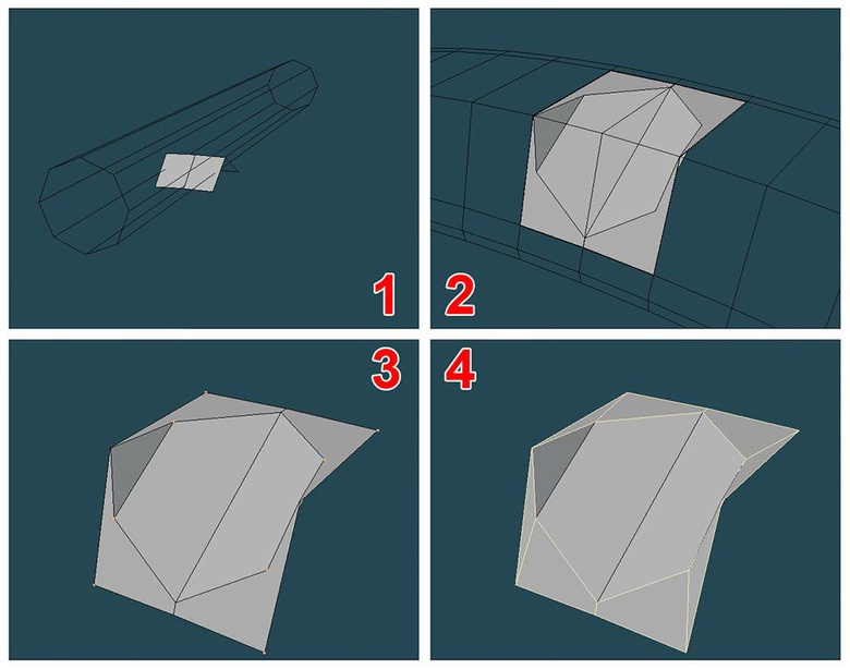 Boolean and Split Poly tool to make the geometry SubD-friendly, three- and four-sided polygons only