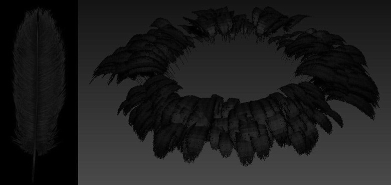 The finished feathered waistband