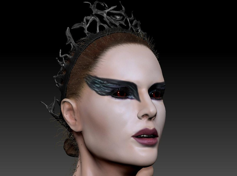 The feathered motif was continued in the make-up