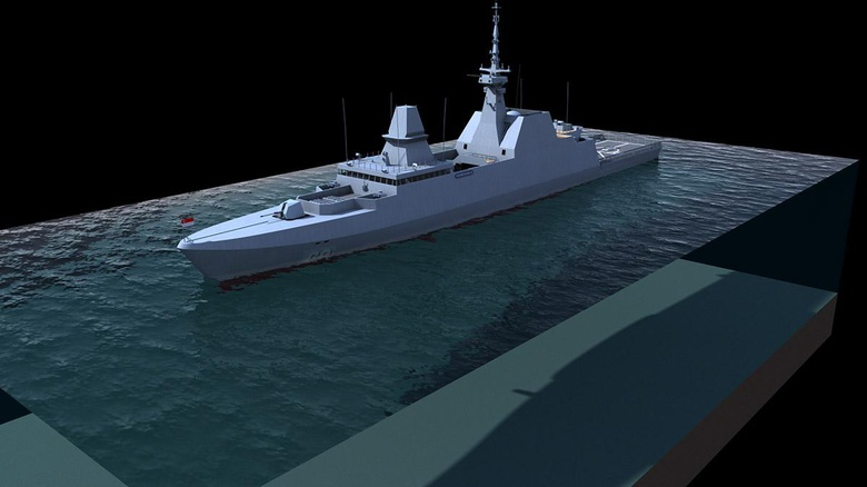 My Singapore Navy warship rendered in a cross section of water. Clean, clear, and crisp. Great for technical-style renders!