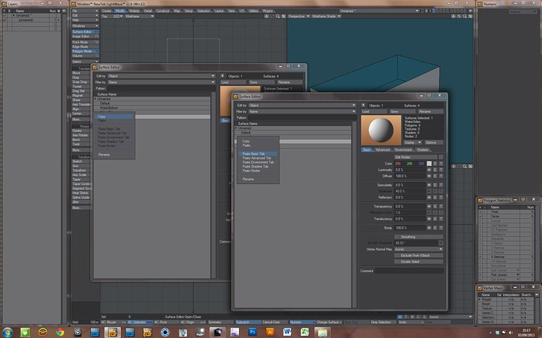 Copying and pasting selective settings in the surface editor